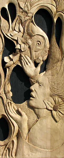 carved wood relief