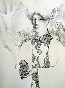 With friends like these: pencil and ink drawing of a man with owls